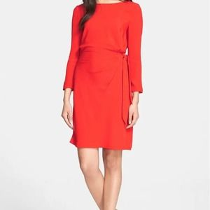 DVF | Red Zoe Long Sleeve Silk Side Tie Dress 0